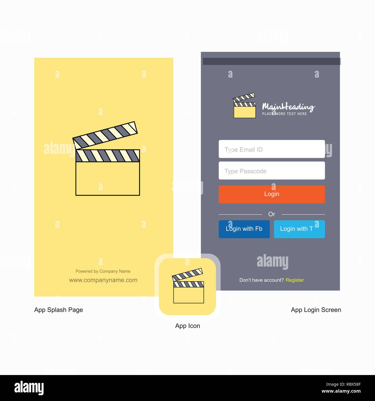 Company Movie clip Splash Screen and Login Page design with