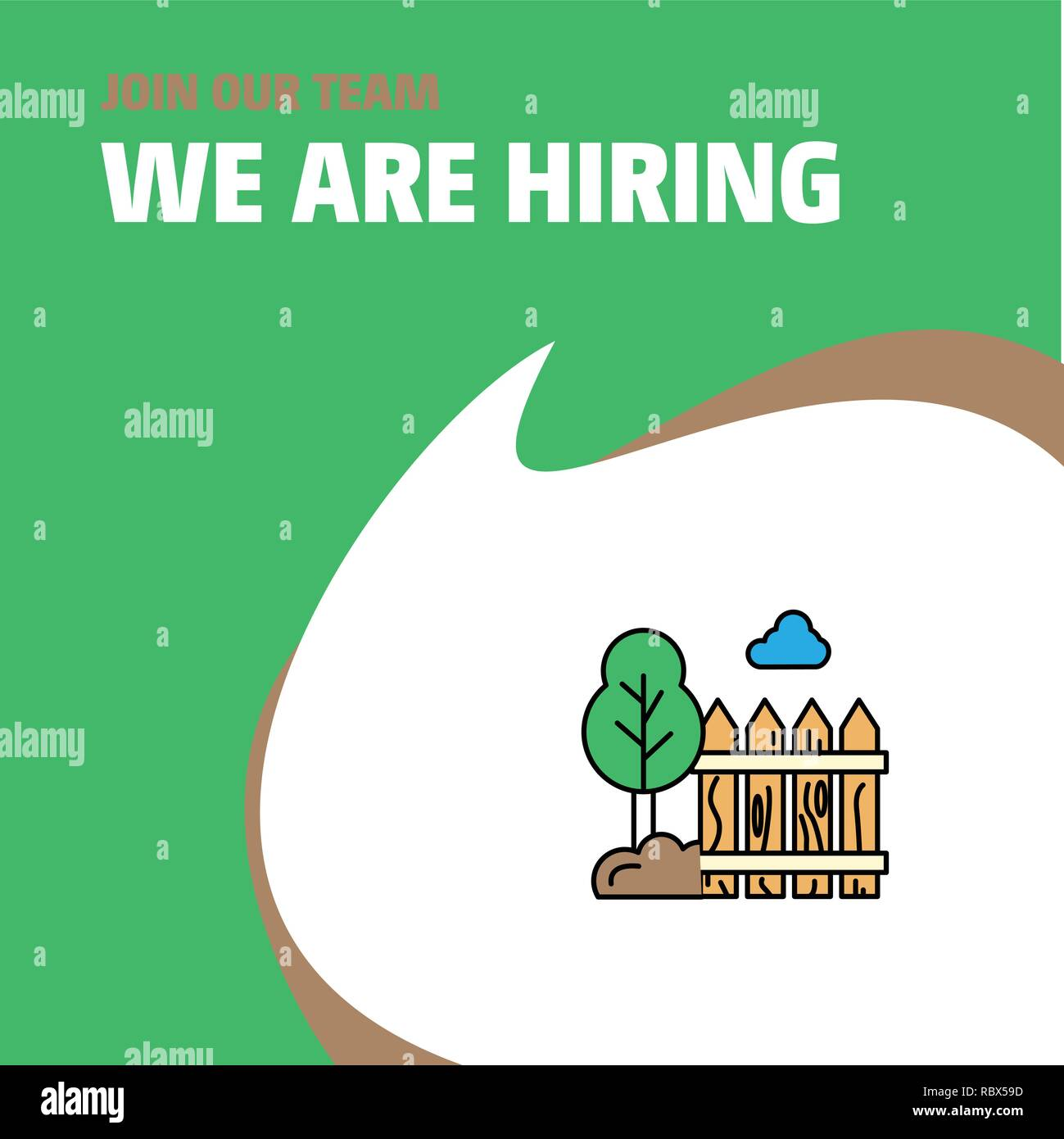 Join Our Team. Busienss Company Garden We Are Hiring Poster Callout Design. Vector background - Stock Image