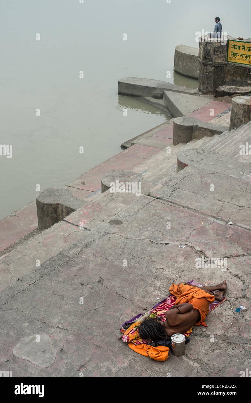 A sadhu (holy man) on the Rishikesh, India, Ganges Rive gaths Stock Photo