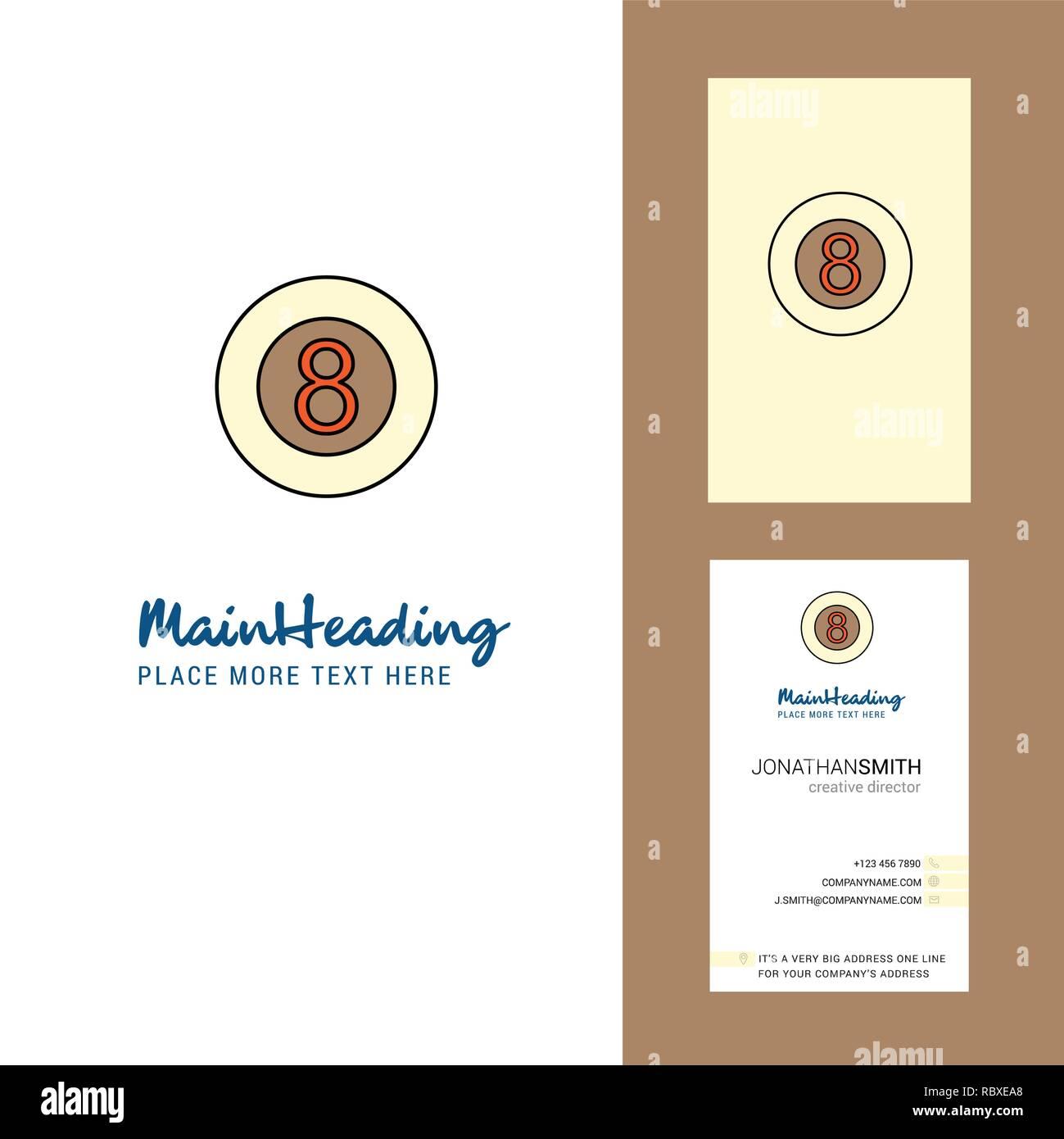 Snooker ball  Creative Logo and business card. vertical Design Vector - Stock Image