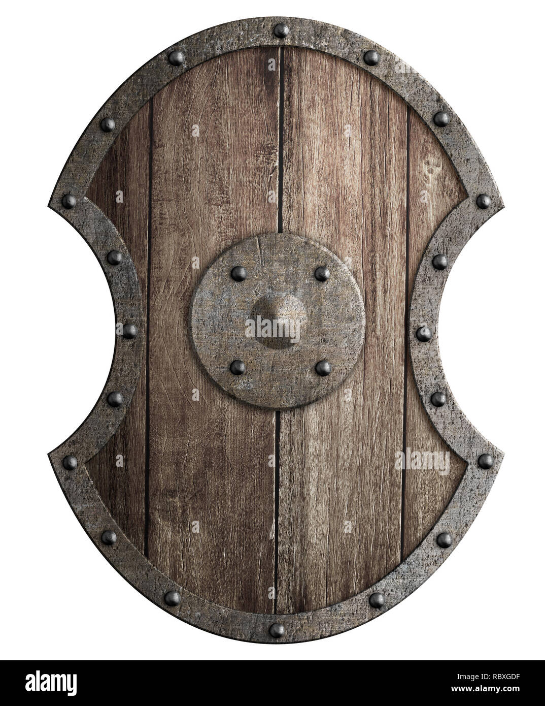 Large wooden shield with metal frame isolated 3d
