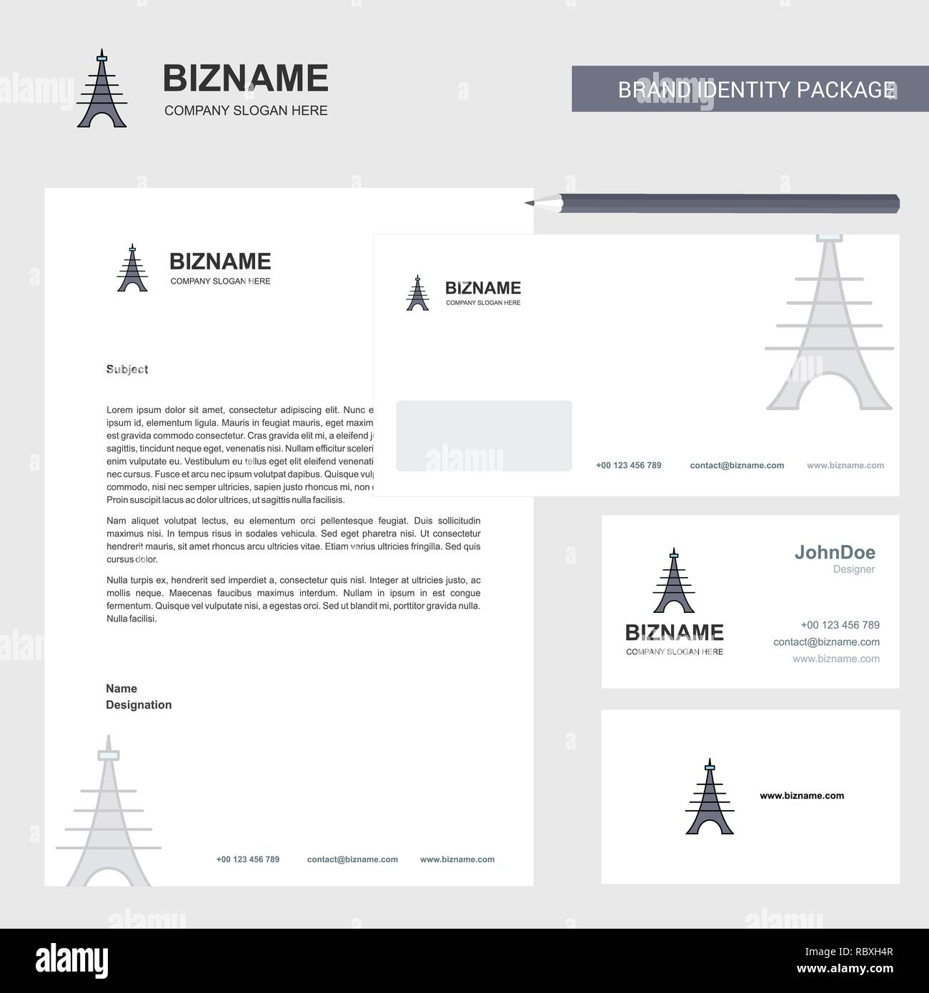 Eiffel tower Business Letterhead, Envelope and visiting Card Design vector template - Stock Vector