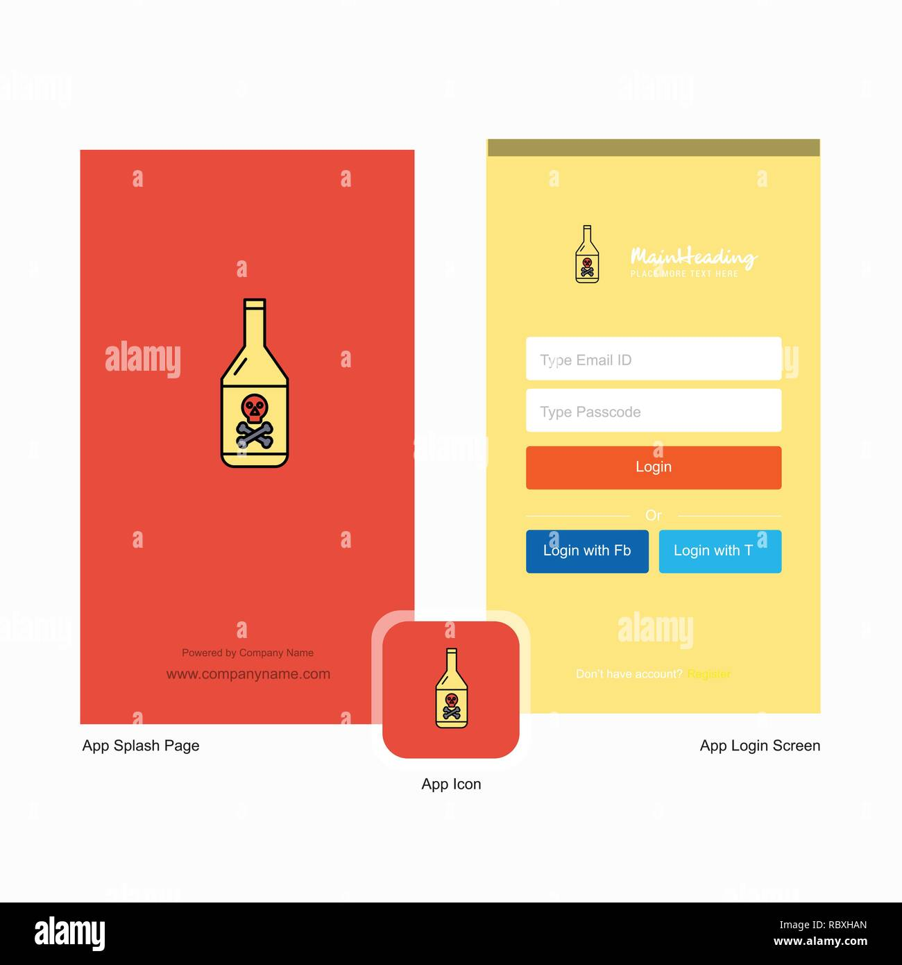 Company Drink bottle Splash Screen and Login Page design with Logo