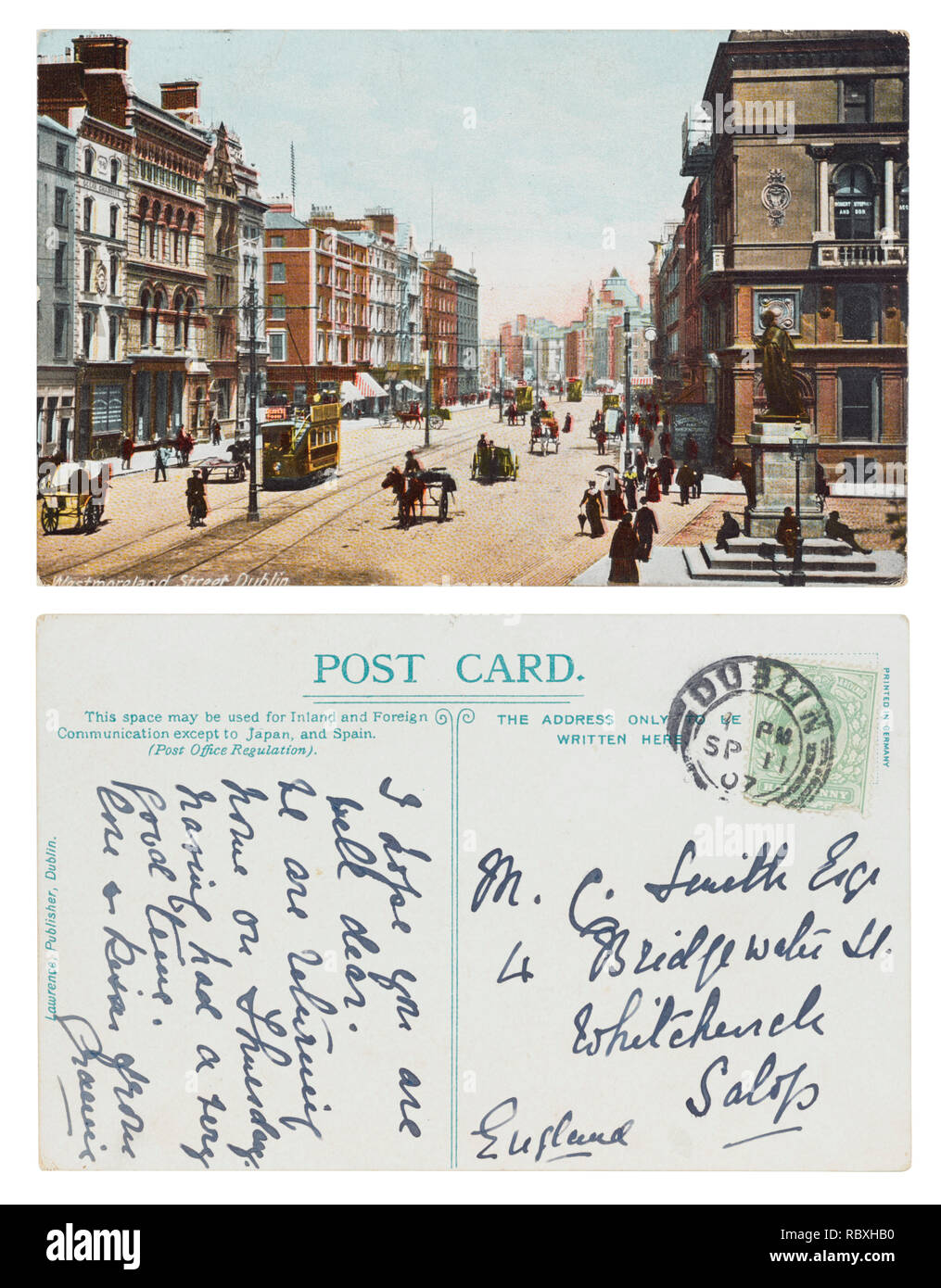Postcard of Westmoreland Street, Dublin to Mr C Smith Esq, 4 Bridgewater Street, Whitchurch, Salop, in September 1907 - Stock Image