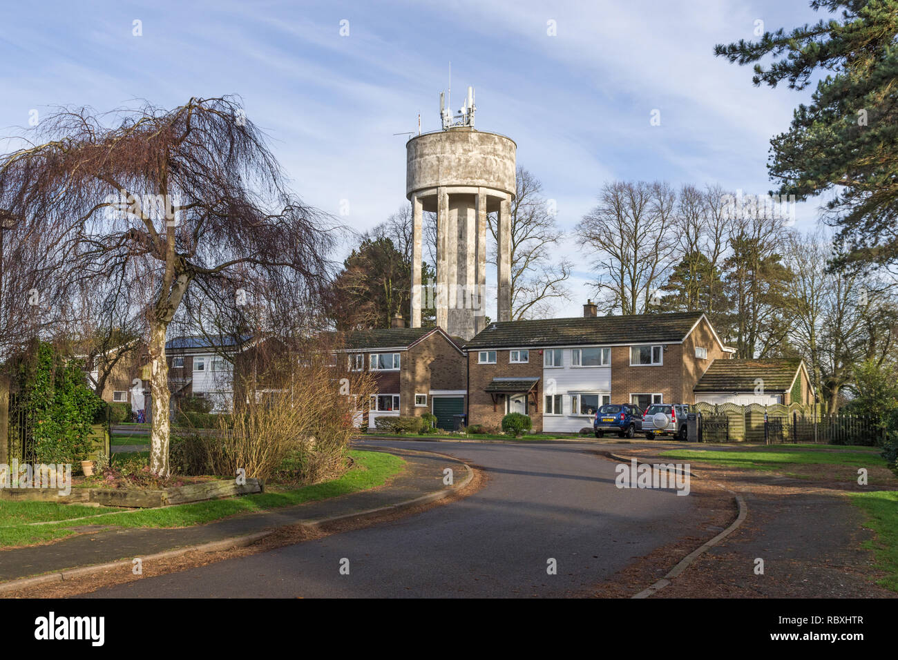 Water Tower in the village of Roade, Northamptonshire, UK Stock Photo