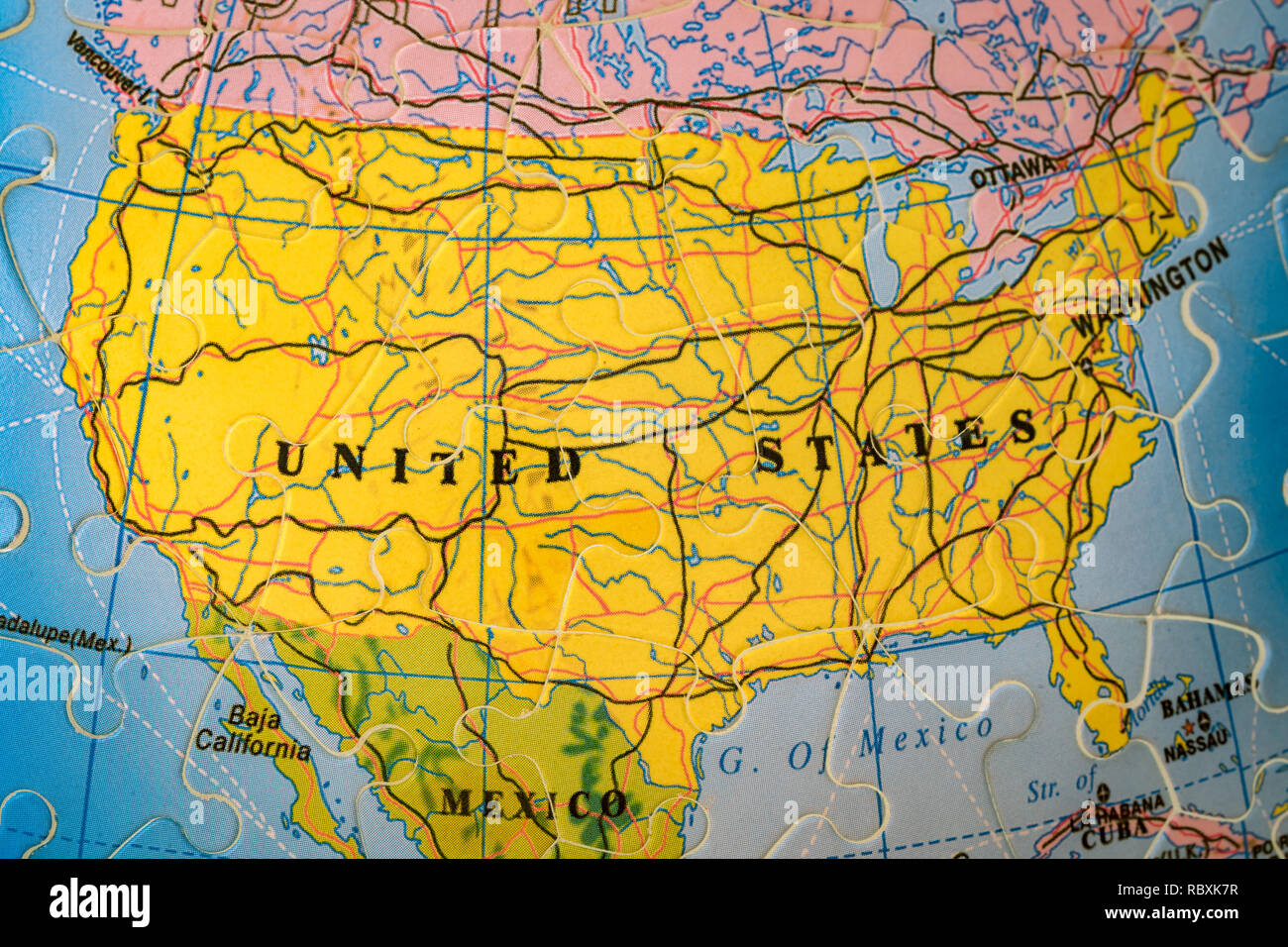 Puzzle Map Of The United States.Puzzle Map Of United States Stock Photo 231081867 Alamy