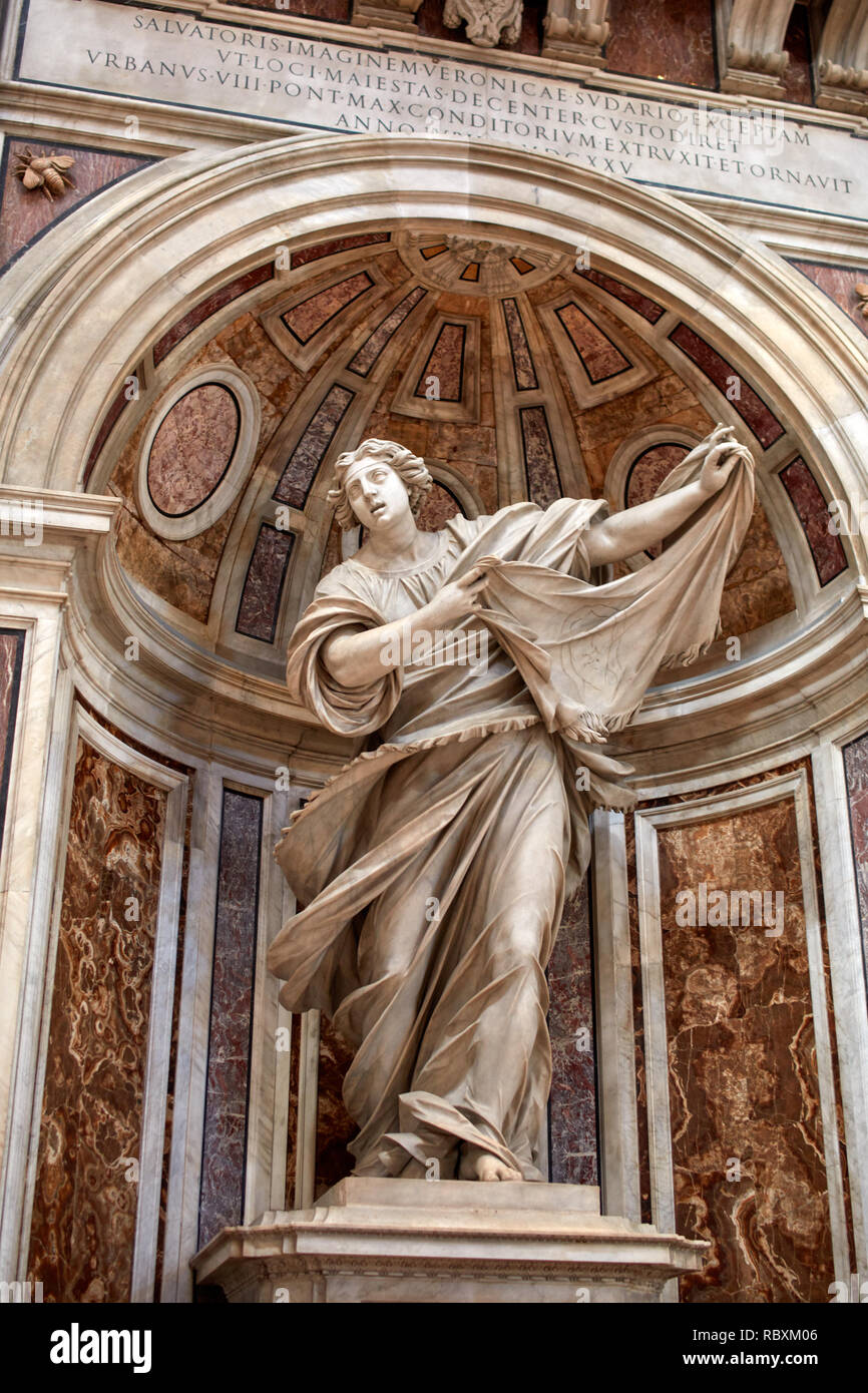 Vatican city - August 17, 2018: Sculpture of Saint Veronica in the Crossing of St Peter's Basilica. It's the best-known masterpiece of Francesco Mochi - Stock Image