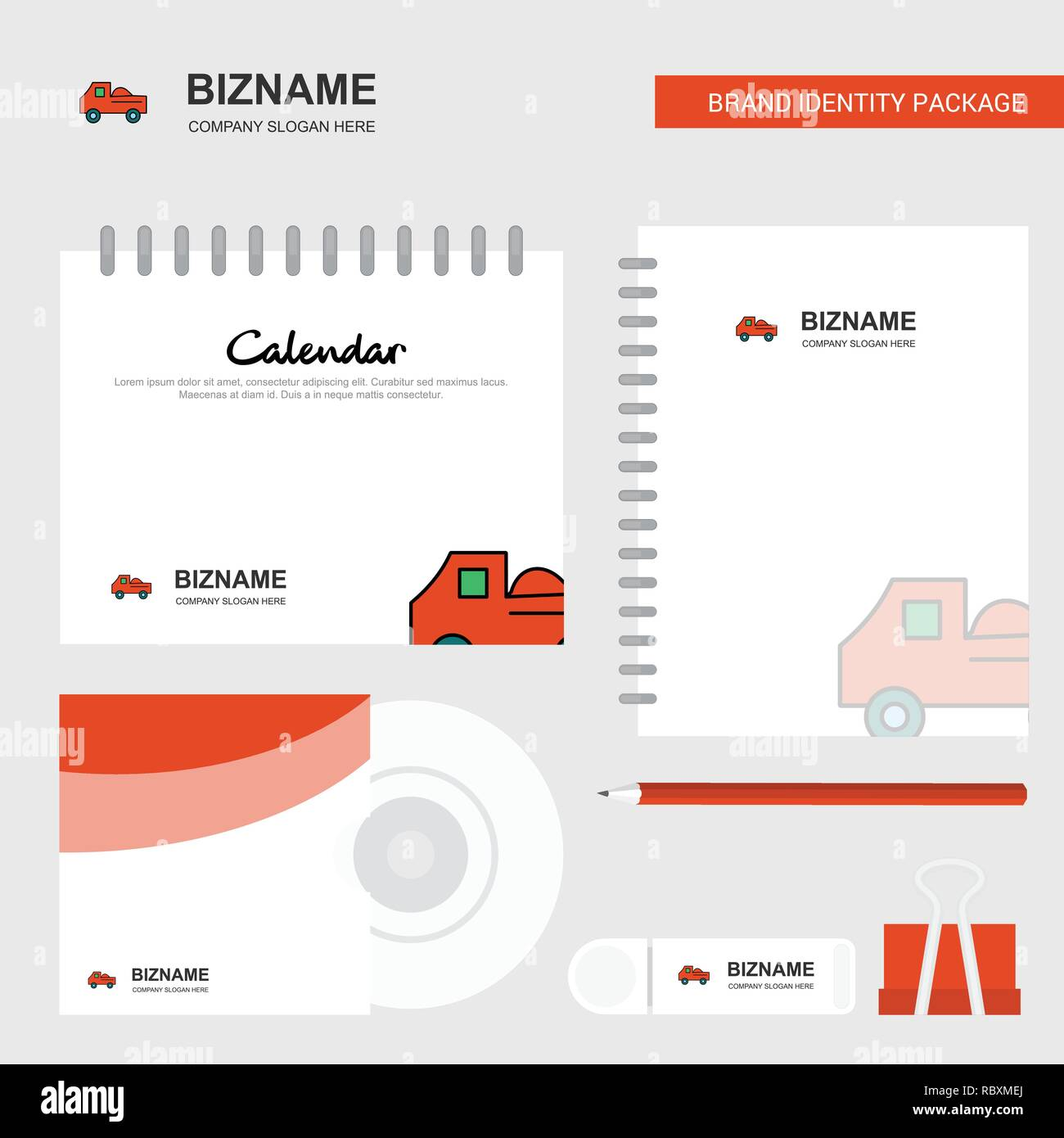 Truck logo calendar template cd cover diary and usb brand stationary package design vector template