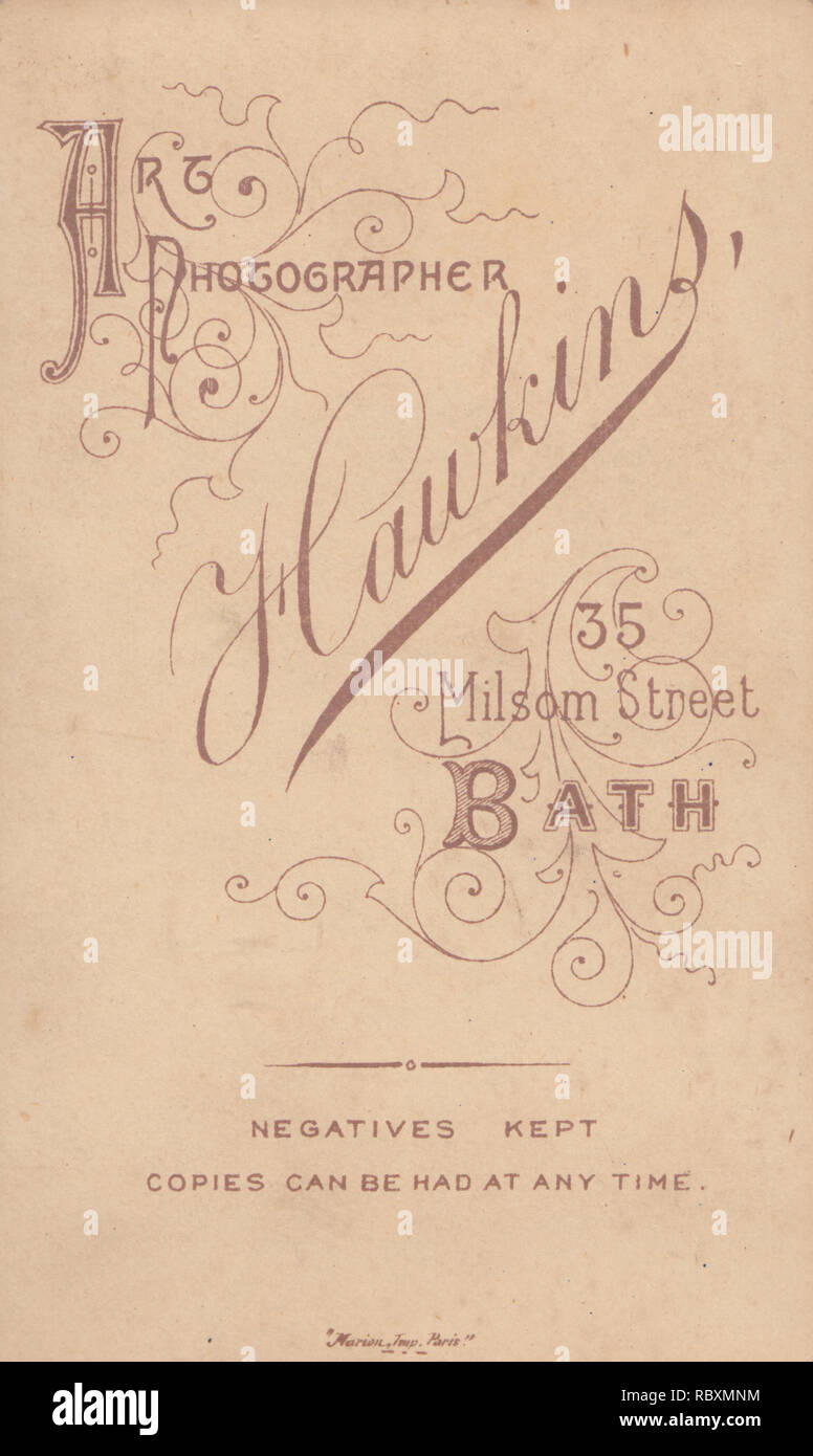Victorian Advertising CDV Carte De Visite Showing The Illustration And Calligraphy From Hawkins Art Photographer 35 Milsom Street Bath Somerset