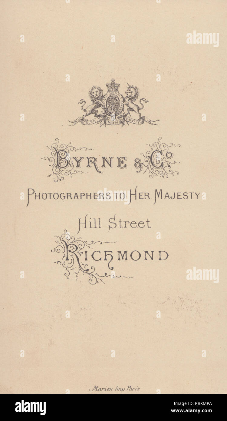 Victorian Advertising CDV Carte De Visite Showing The Illustration And Calligraphy From Byrne Co Photographers To Her Majesty Hill Street Richmond