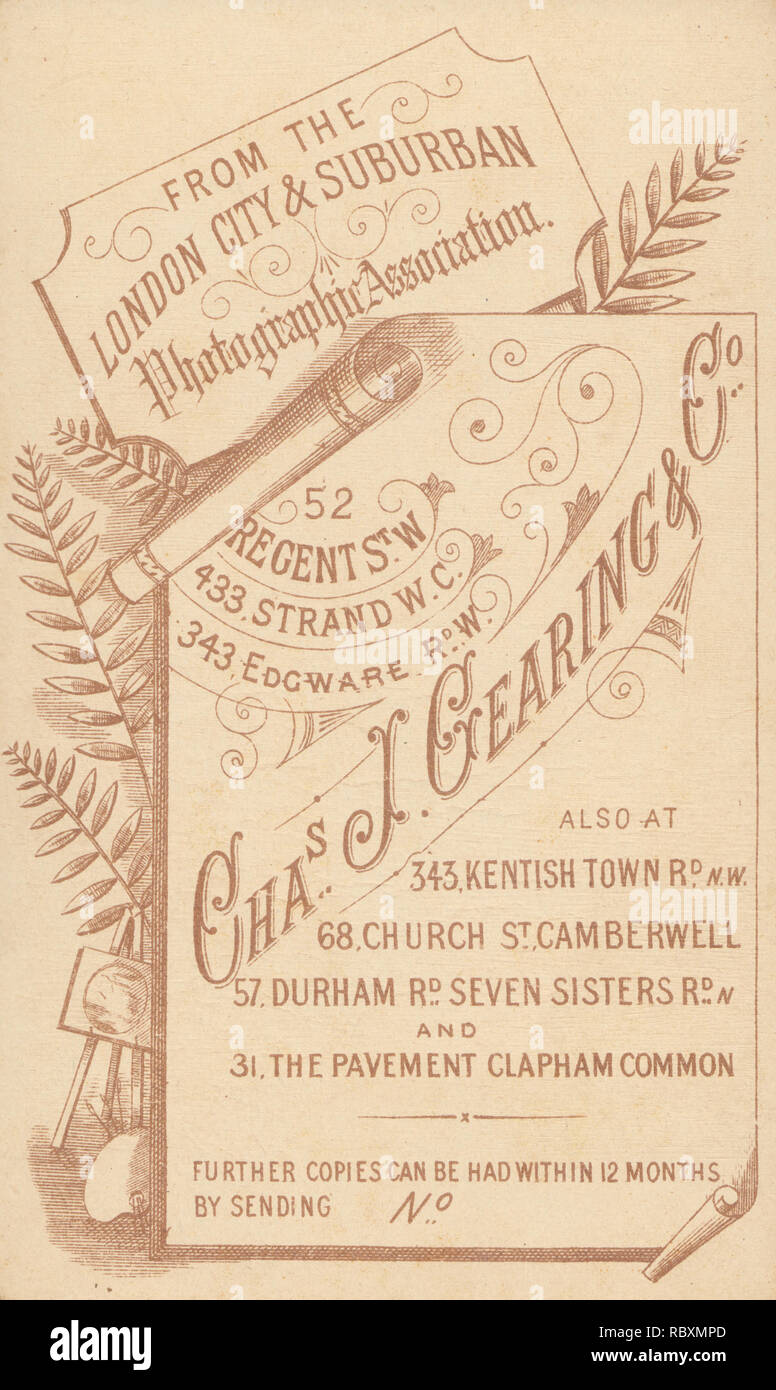 Advertising CDV Carte De Visite Showing The Illustration And Calligraphy From ChasJGearing Co London Suburban Photographic Association