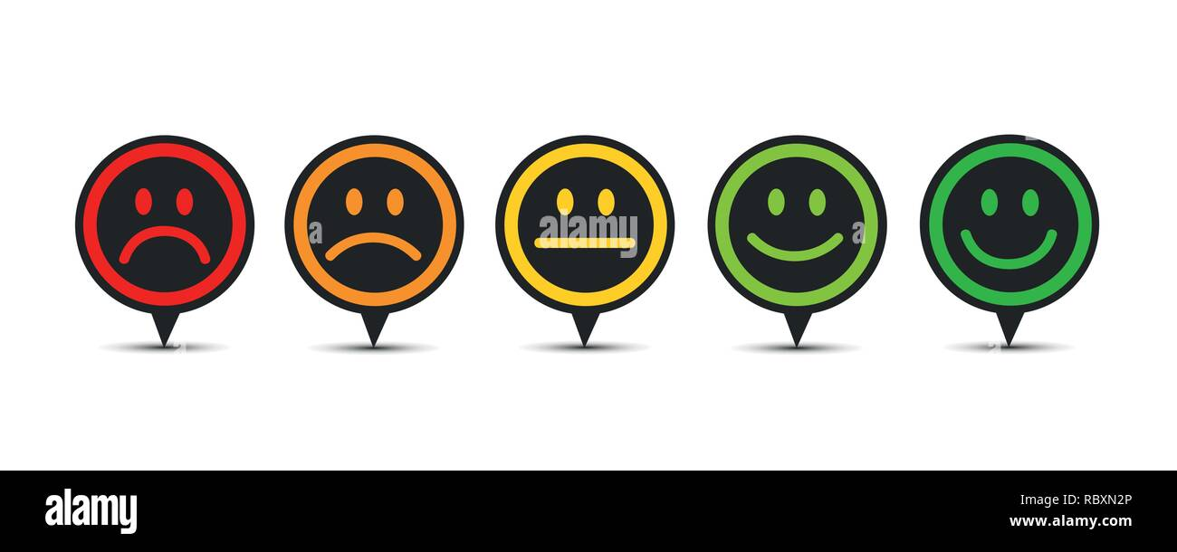 rating satisfaction feedback in form of emotions speech bubble vector illustration - Stock Vector
