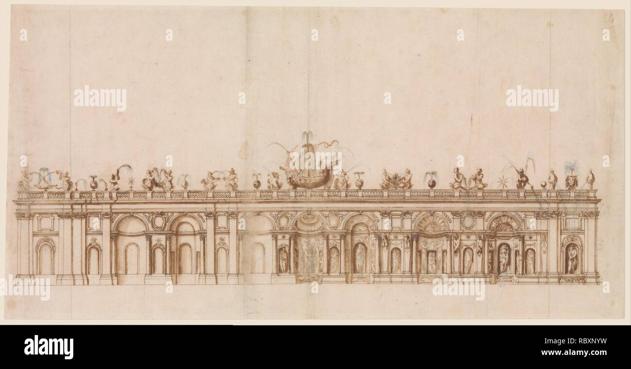 Giovanni Guerra (Italian, Modena 1544–1618 Rome) Design after a Fountain in the Villa Aldobrandini at Frascati., 1590–1600 Italian,  Pen and brown ink, brush with brown wash and pale blue-gray watercolor accents (on the depictions of water), over leadpoint or black chalk, with ruling and compass construction; sheet: 13 5/8 x 26 3/4 in. (34.6 x 68 cm) The Metropolitan Museum of Art, New York, The Elisha Whittelsey Collection, The Elisha Whittelsey Fund, 1977 (1977.619) http://www.metmuseum.org/Collections/search-the-collections/343997 - Stock Image