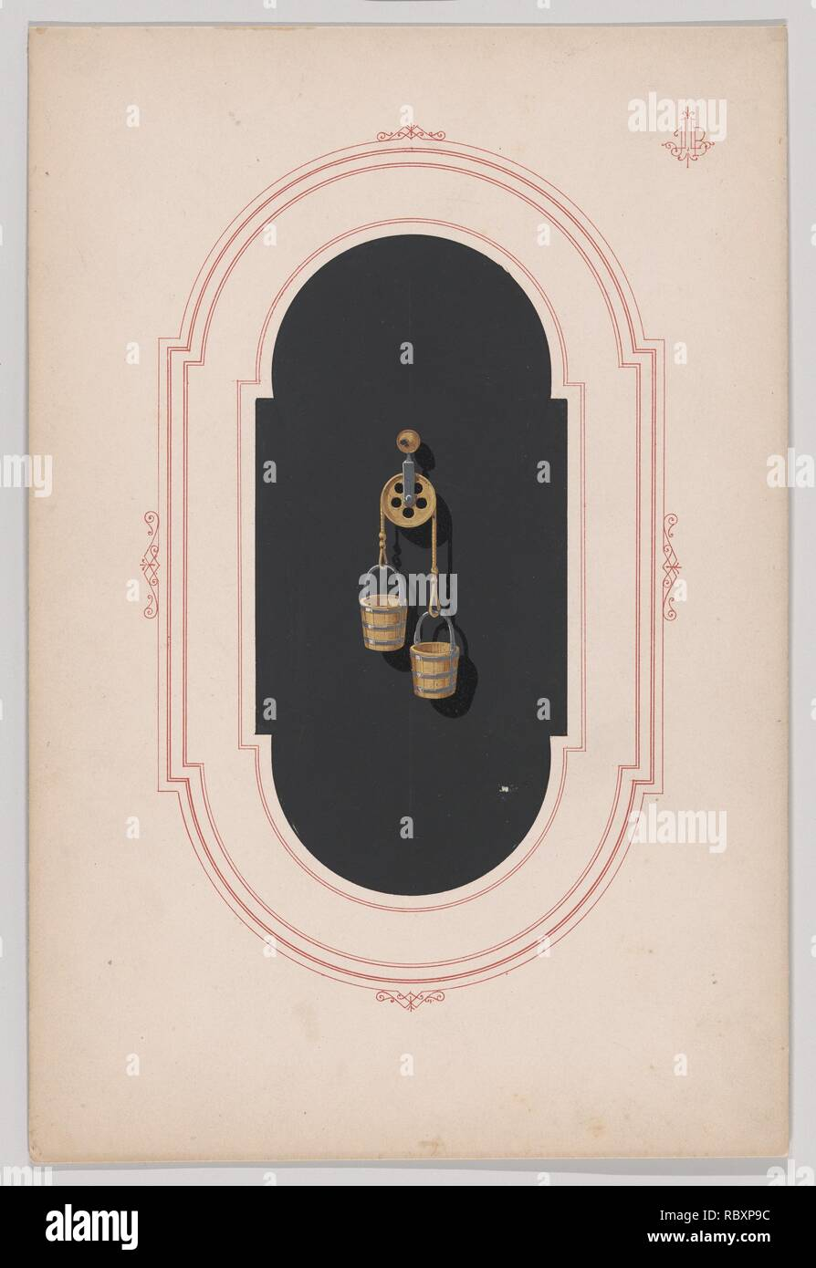 Anonymous, French, 19th century Design for an earring with buckets and pulley, 19th century French,  Lithograph, ink and watercolor; Sheet: 9 5/16 × 6 1/4 in. (23.6 × 15.8 cm) The Metropolitan Museum of Art, New York, The Elisha Whittelsey Collection, The Elisha Whittelsey Fund, 1959 (59.564.77) http://www.metmuseum.org/Collections/search-the-collections/706023 - Stock Image