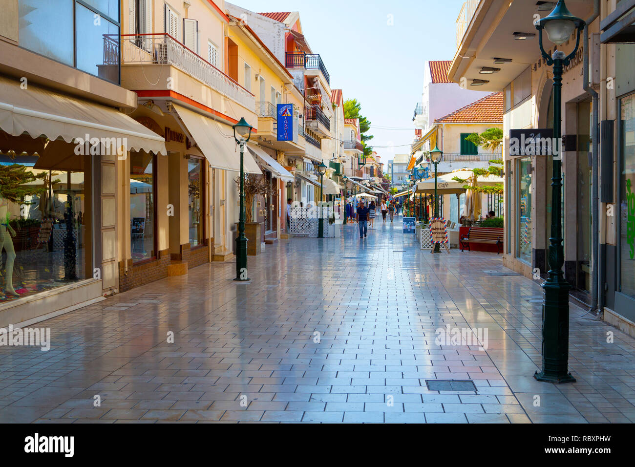 Argostoli main street and shopping centre, Kefalonia, July Stock ...