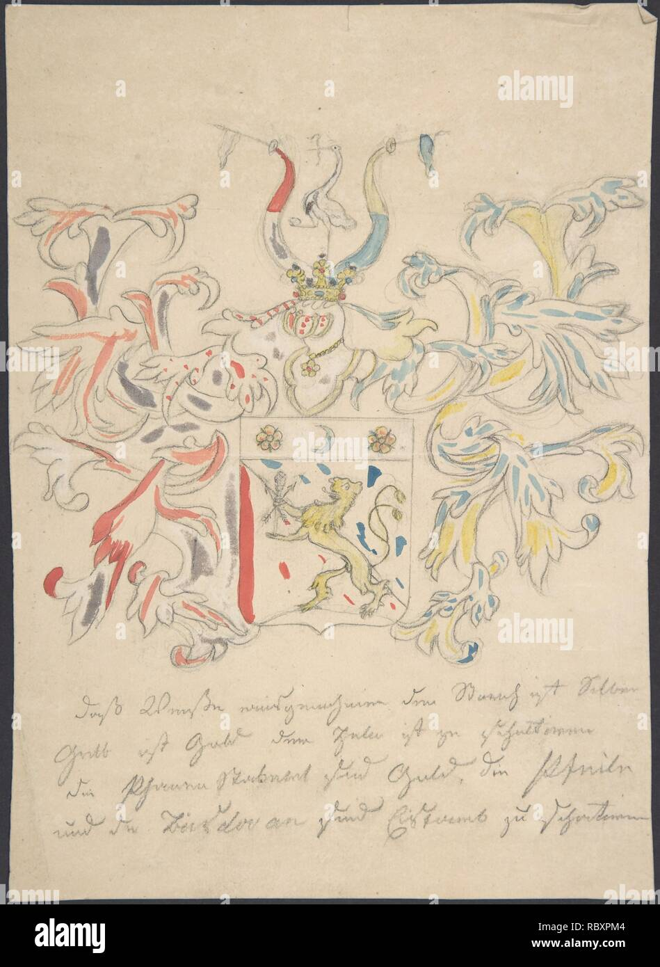 http://www.metmuseum.org/art/collection/search/383349 Artist: Anonymous, 18th century, Design for coat of arms, 18th century, Graphite and watercolor, sheet: 10 3/16 x 7 5/16 in. (25.9 x 18.6 cm). The Metropolitan Museum of Art, New York. Gift of Janos Scholz, 1961 (61.636.32) - Stock Image