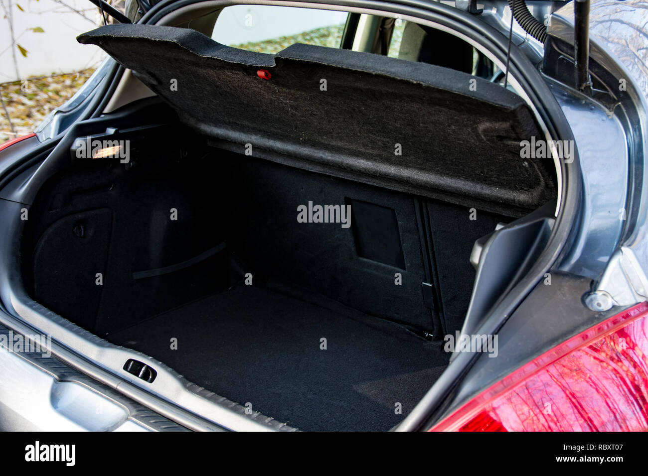 Belgrade, Serbia - 11.21.2018 / Interior images of a Peugeot 308 hdi, empty trunk. - Stock Image