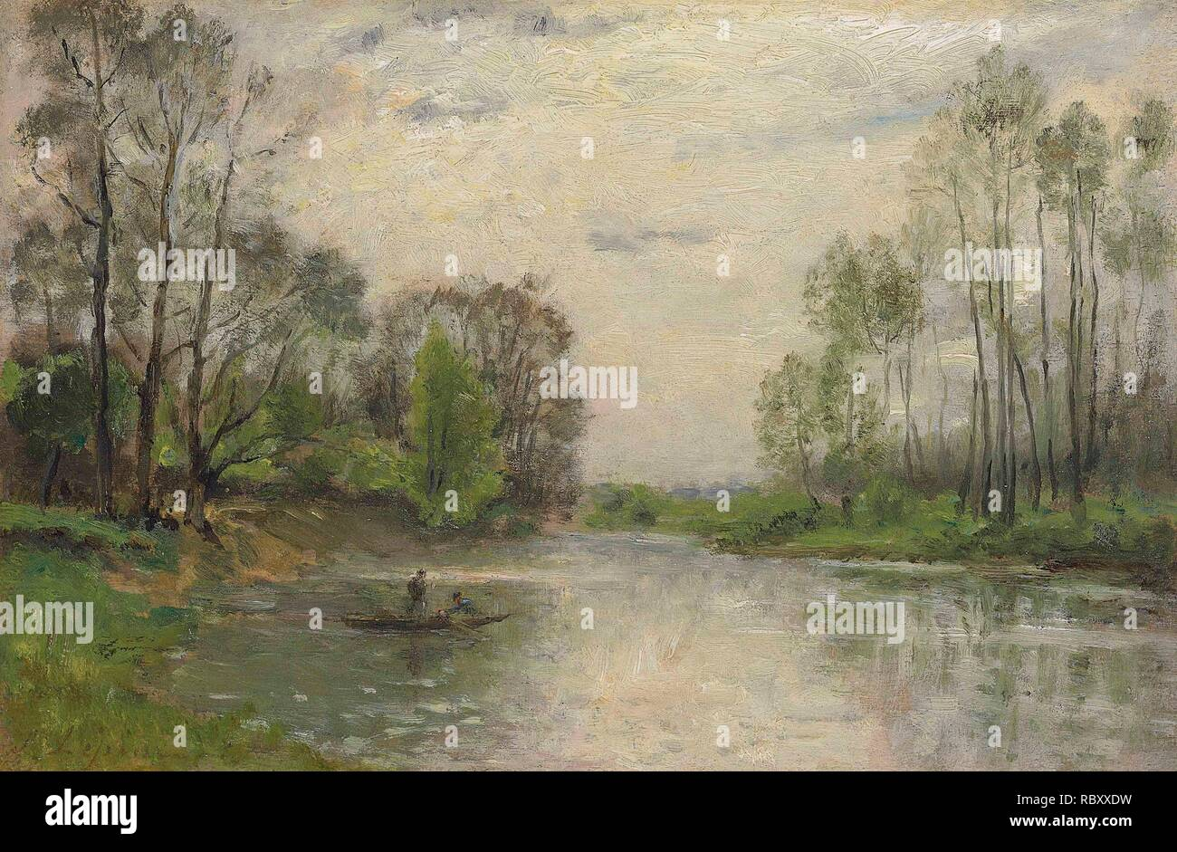 Stanislas-Victor-Edouard Lpine (French, 1835-1892) The banks of the Marne.jpg - RBXXDW Stock Photo