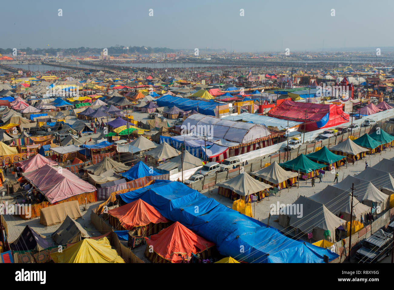 An aerial view of the temporary tents for the pilgrims at Kumbh mela. Stock Photo