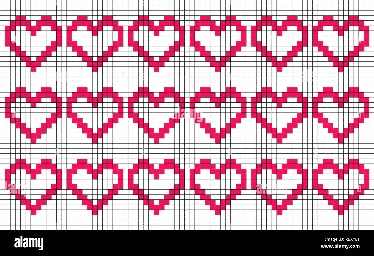 White background with repeating pixel-like hearts, patchwork or cross stitch pattern, seamless motif or graphic resource as abstract background - Stock Image