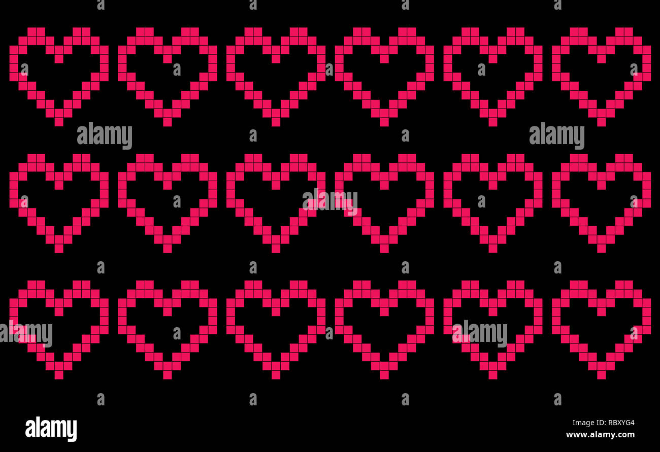 Black background with repeating pixel-like hearts, patchwork or cross stitch pattern, seamless motif or graphic resource as abstract background - Stock Image