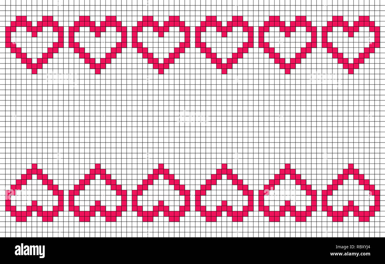 Patchwork or cross stitch pattern with six hearts in a row mirroring top and bottom, with copy space and white background Stock Photo