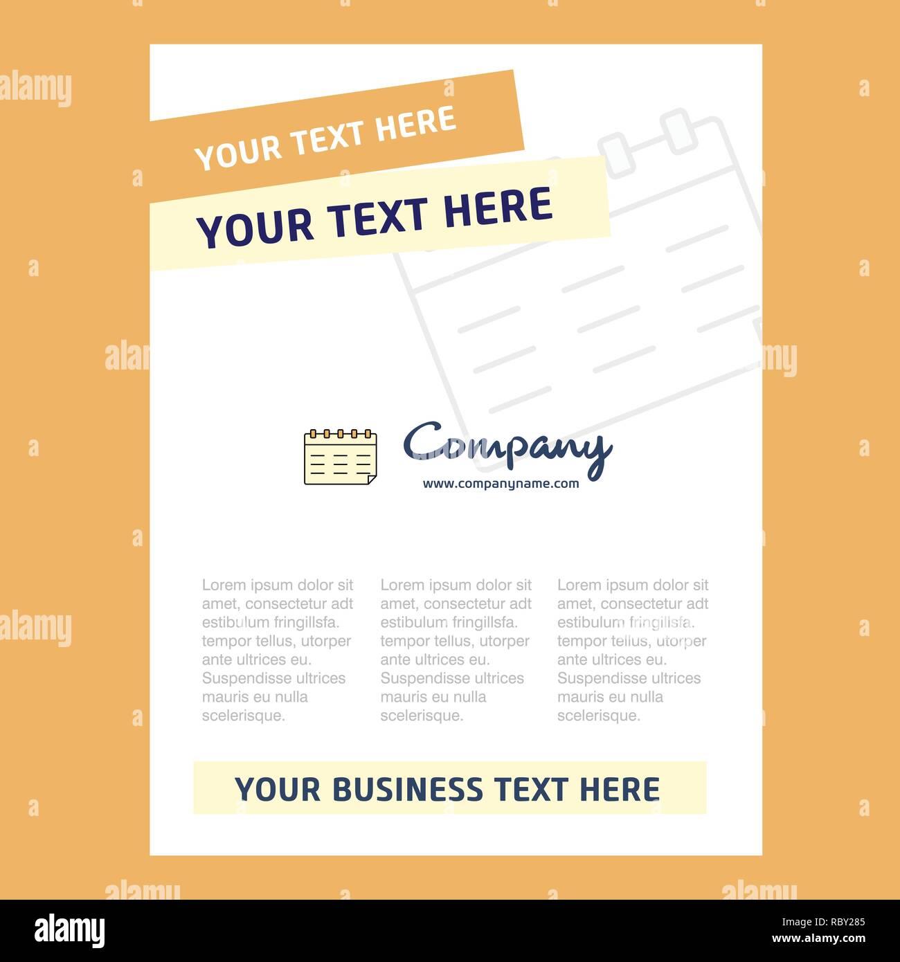 Calendar Title Page Design For Company Profile Annual