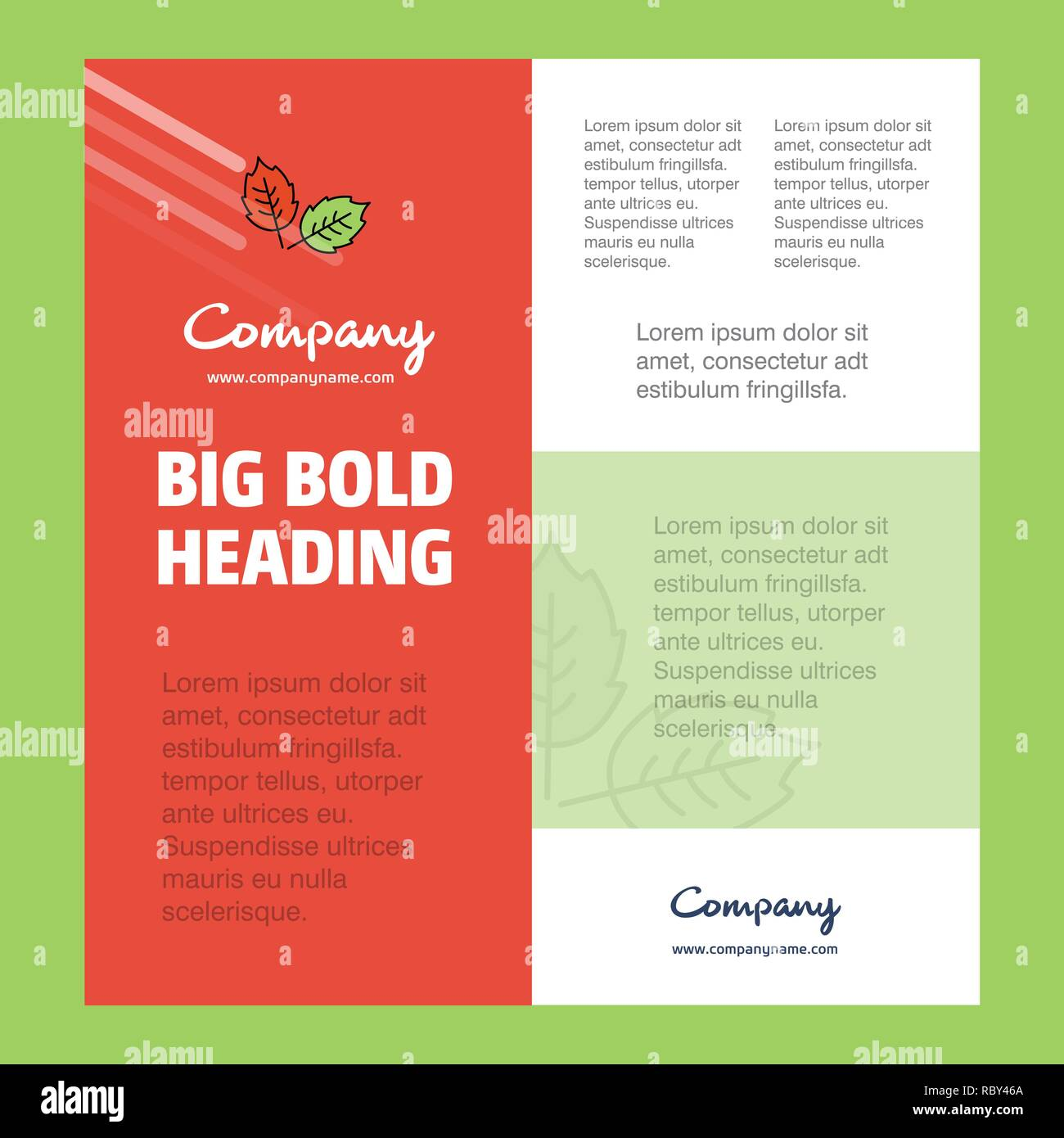 Leafs  Business Company Poster Template. with place for text and images. vector background - Stock Vector