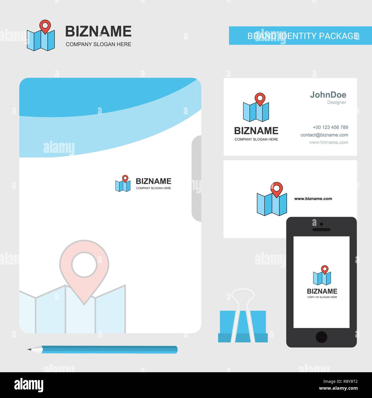Map Business Logo, File Cover Visiting Card and Mobile App