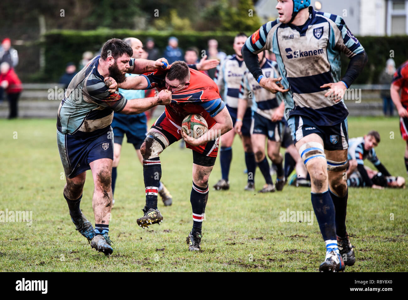BLAINA, WALES, UK -18 FEBRUARY 2017: Blaina vs Machen Rugby Game, WRU Championship league match at Cwmcellyn Park Stock Photo