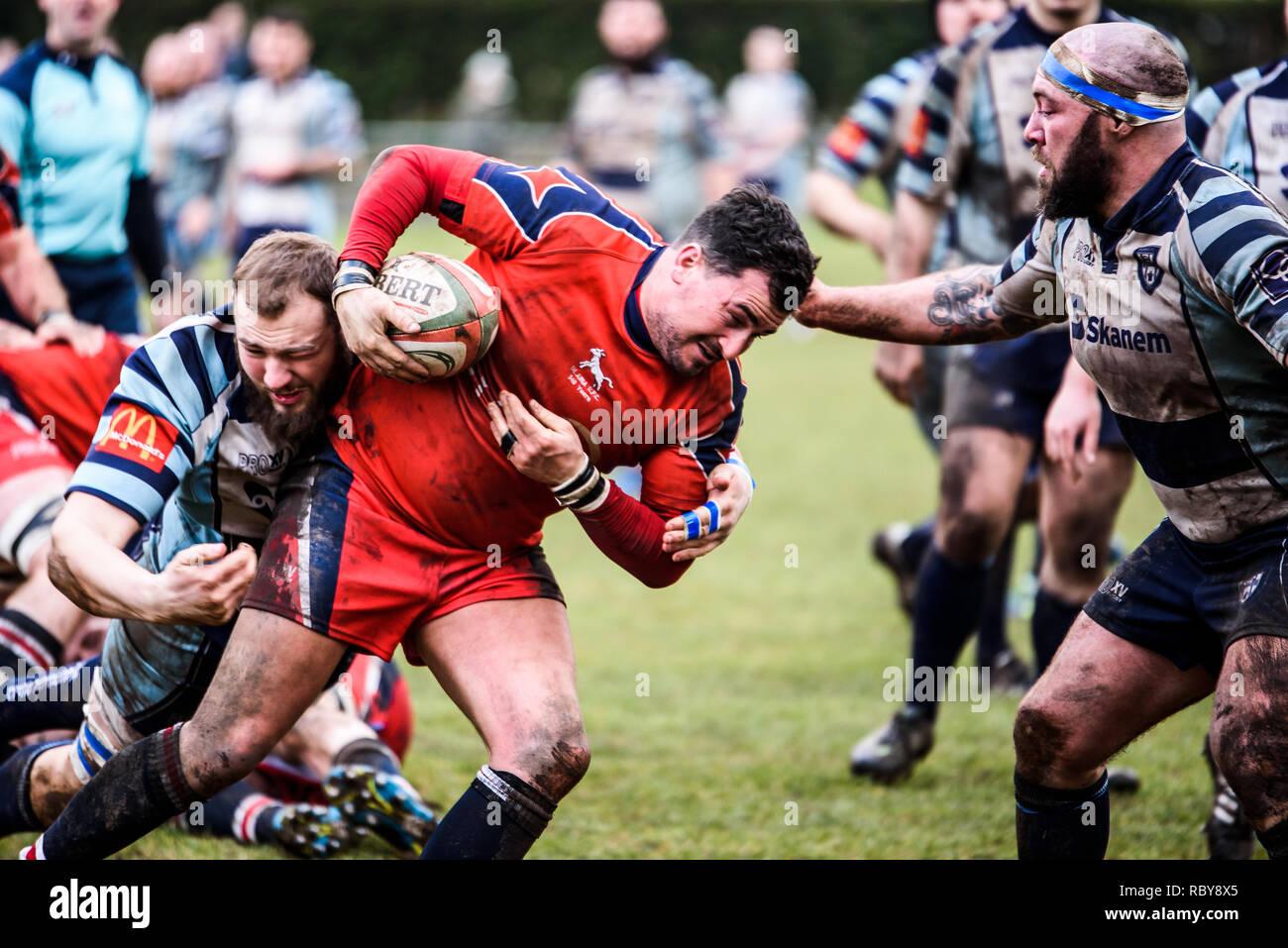 BLAINA, WALES, UK -18 FEBRUARY 2017: Blaina vs Machen Rugby Game, WRU Championship league match at Cwmcellyn Park Stock Photo