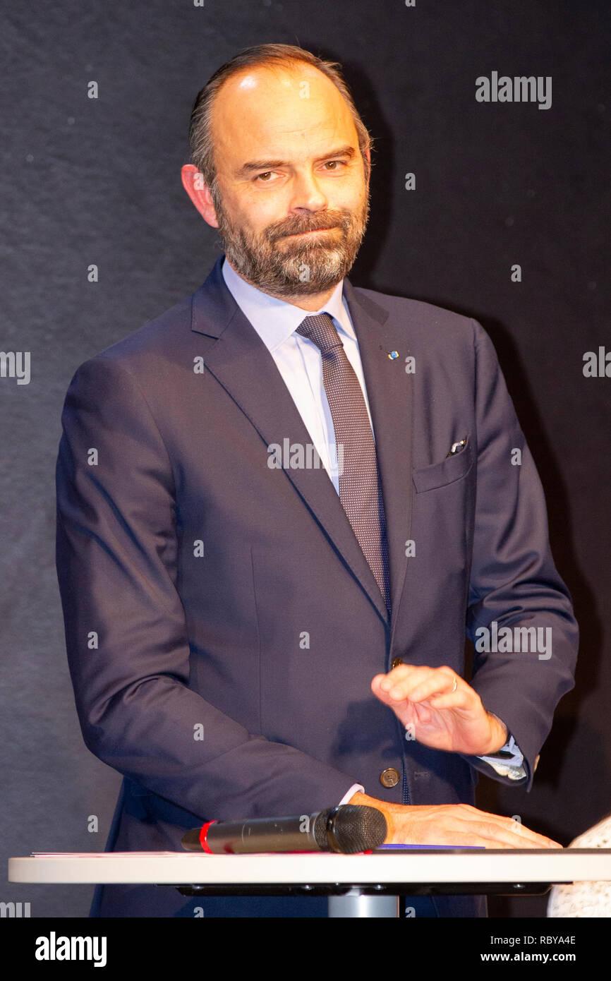 Französischer Premierminister Édouard Philippe am Friedrich-Ebert-Gymnasium (FEG), Bonn, 10.01.2019 - Stock Image