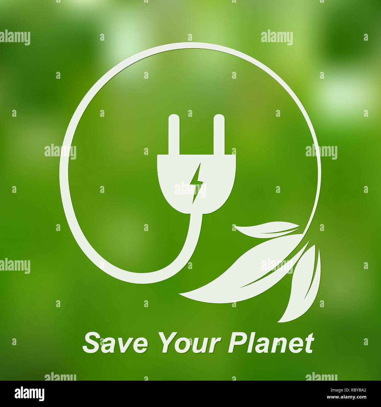 Leaves with electric cable and a plug. Vector illustration. Concept of green energy. Green power concept. Save your planet Stock Vector