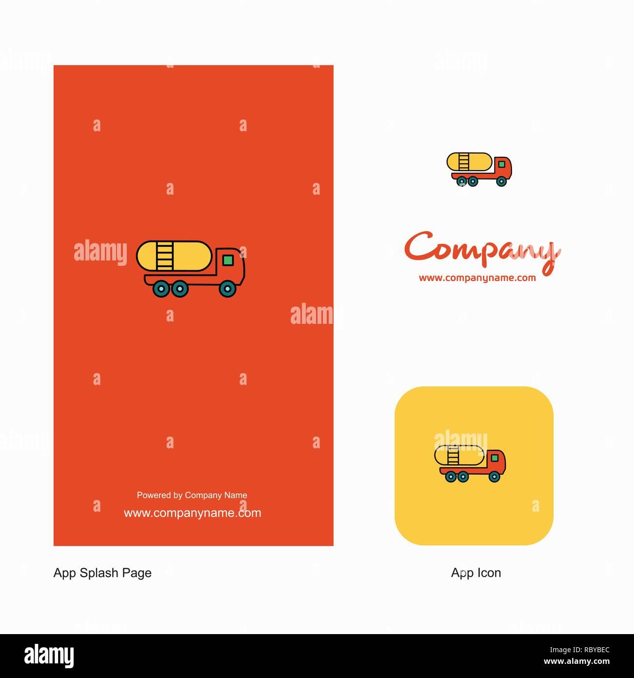 Tanker truck Company Logo App Icon and Splash Page Design