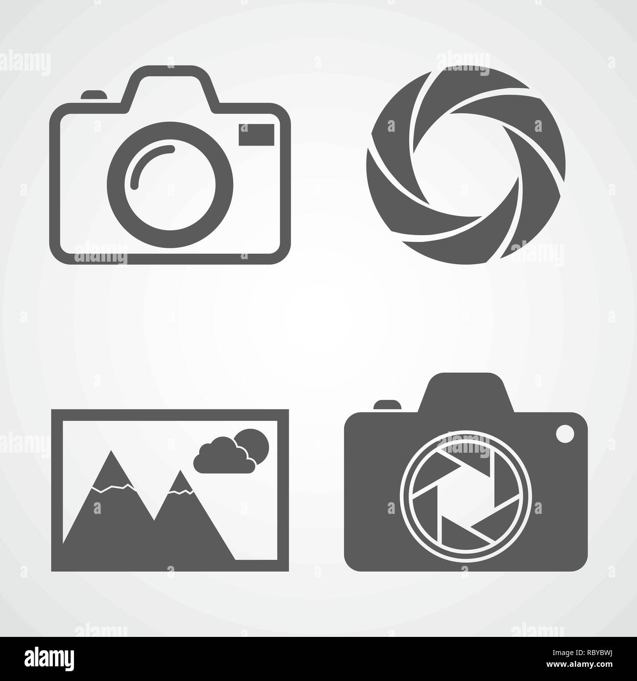 Camera icons, aperture icon, photo icon. Vector illustration. Set of flat icons isolated Stock Vector