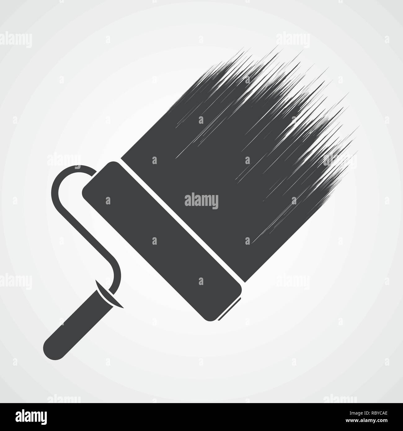 Paint roller icon in flat design  Vector illustration  Wall