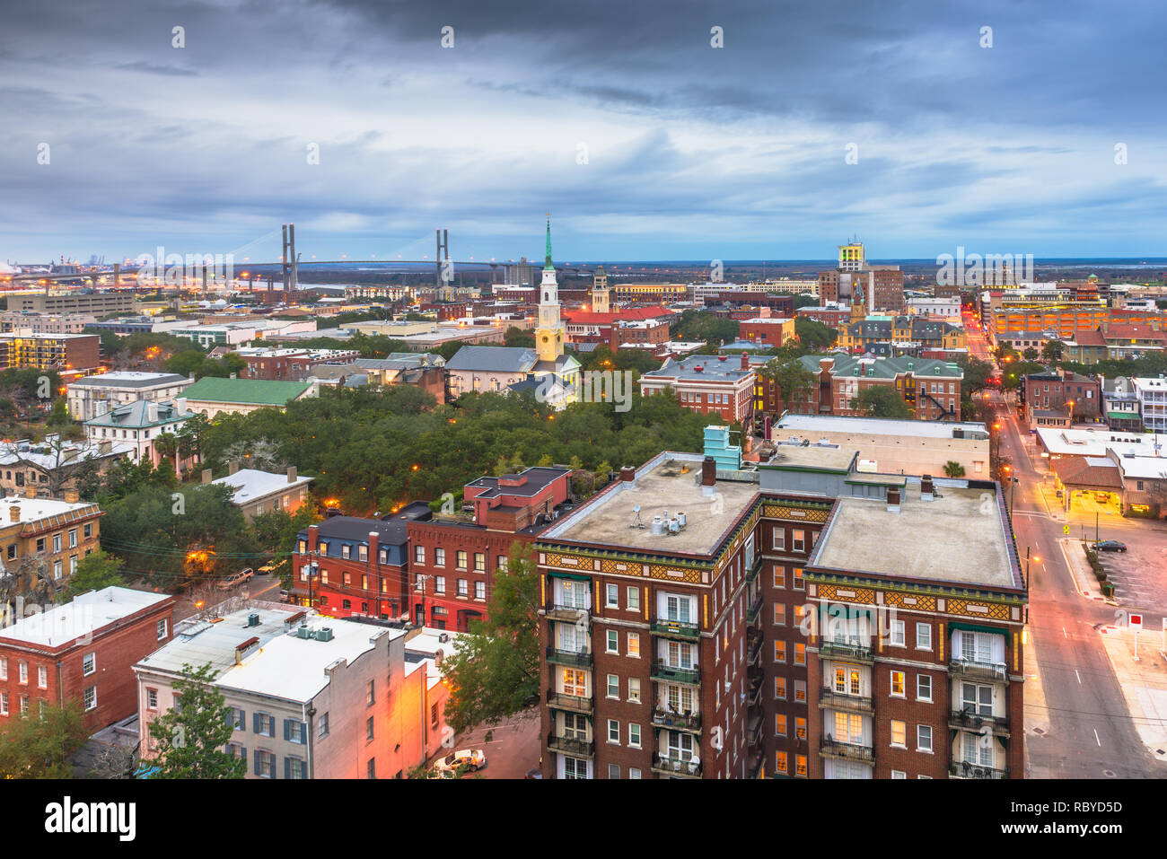 Savannah, Georgia, USA downtown skyline at dusk. - Stock Image