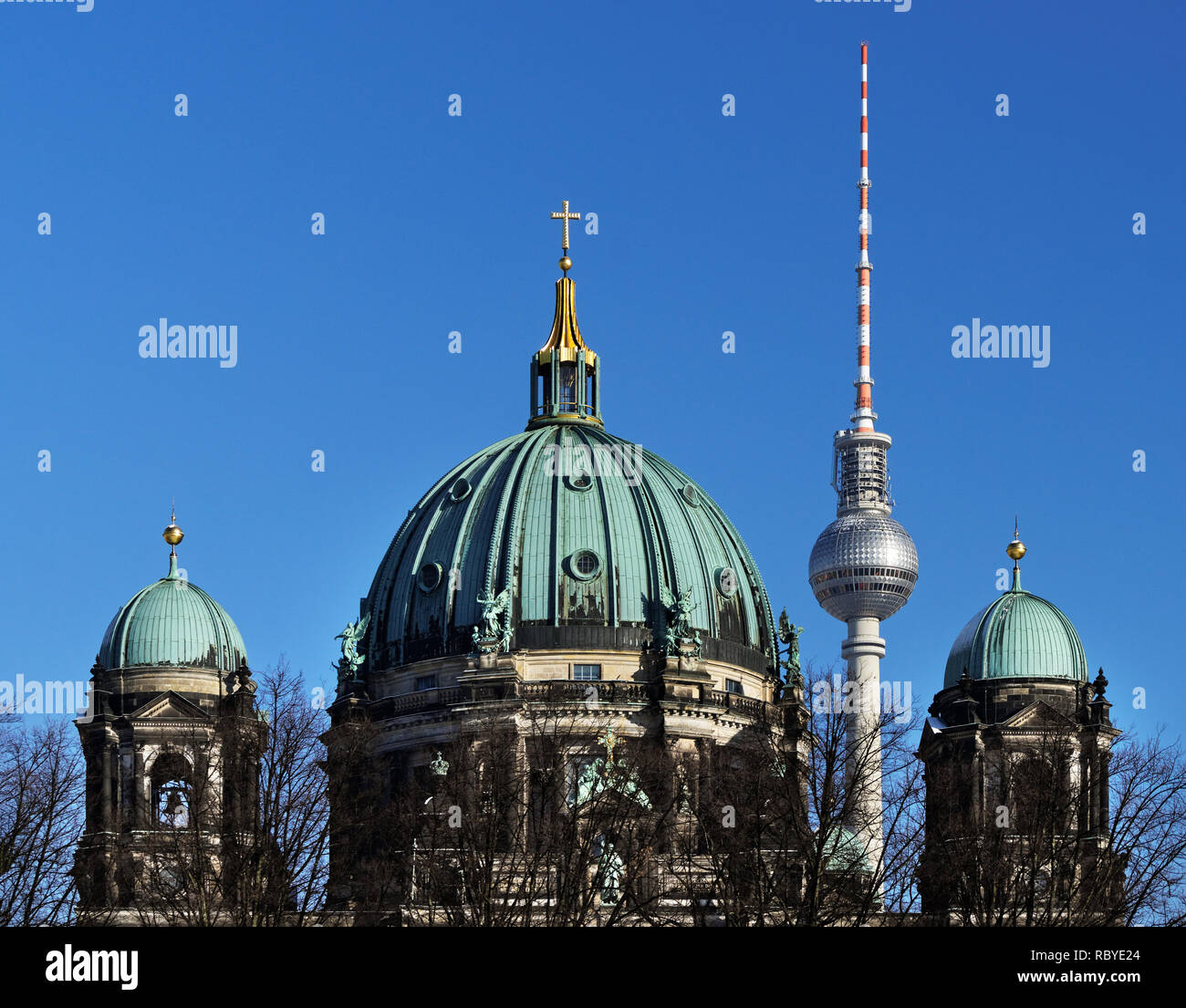 The Berlin Television Tower is positioned in the picture between two domes of the Berlin Cathedral - Location: Germany, Berlin, 'Am Zeughaus' - Stock Image