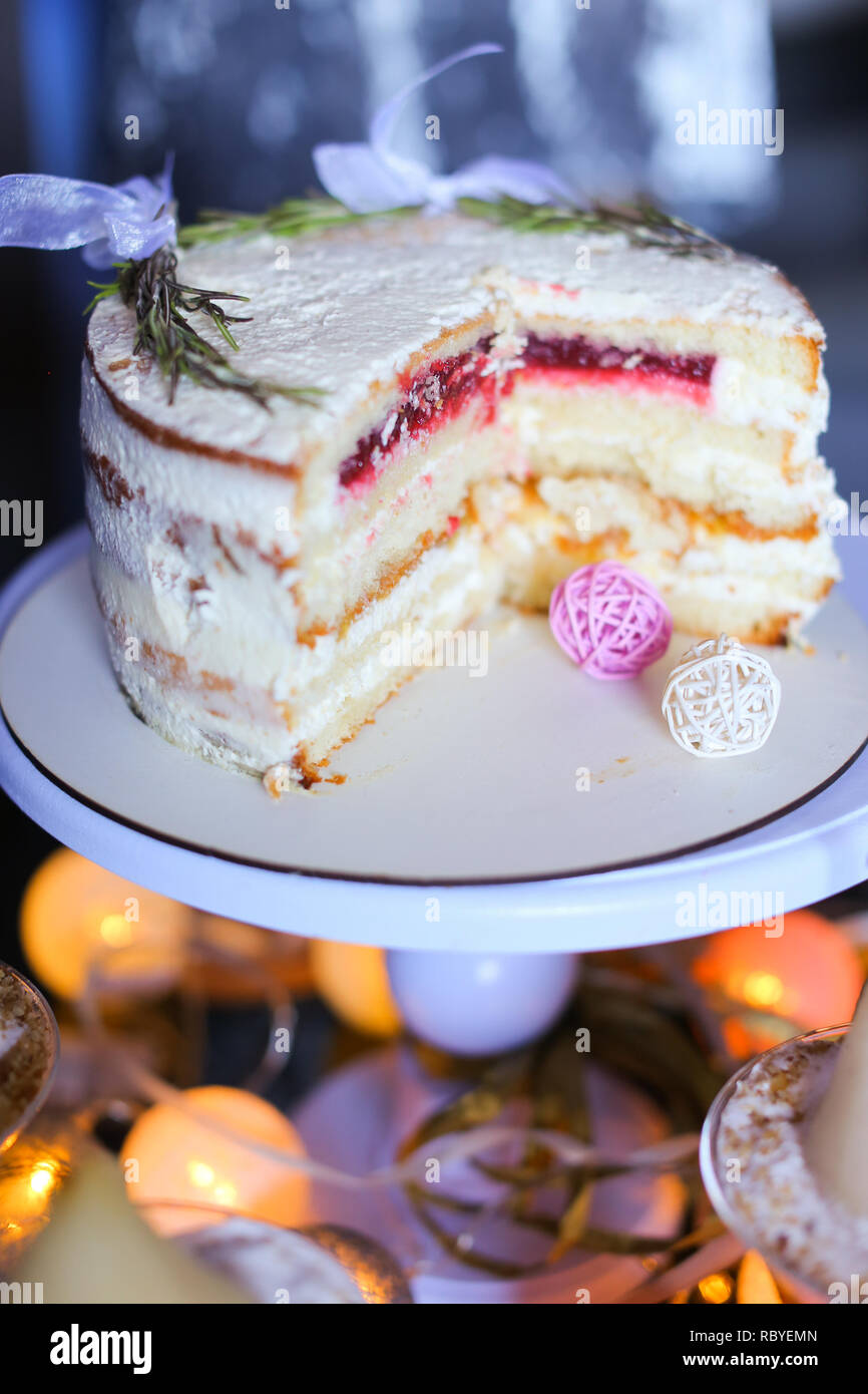 Cut Sweet Tasty Birthday Cake On Plate Concept Of Sweets And Food