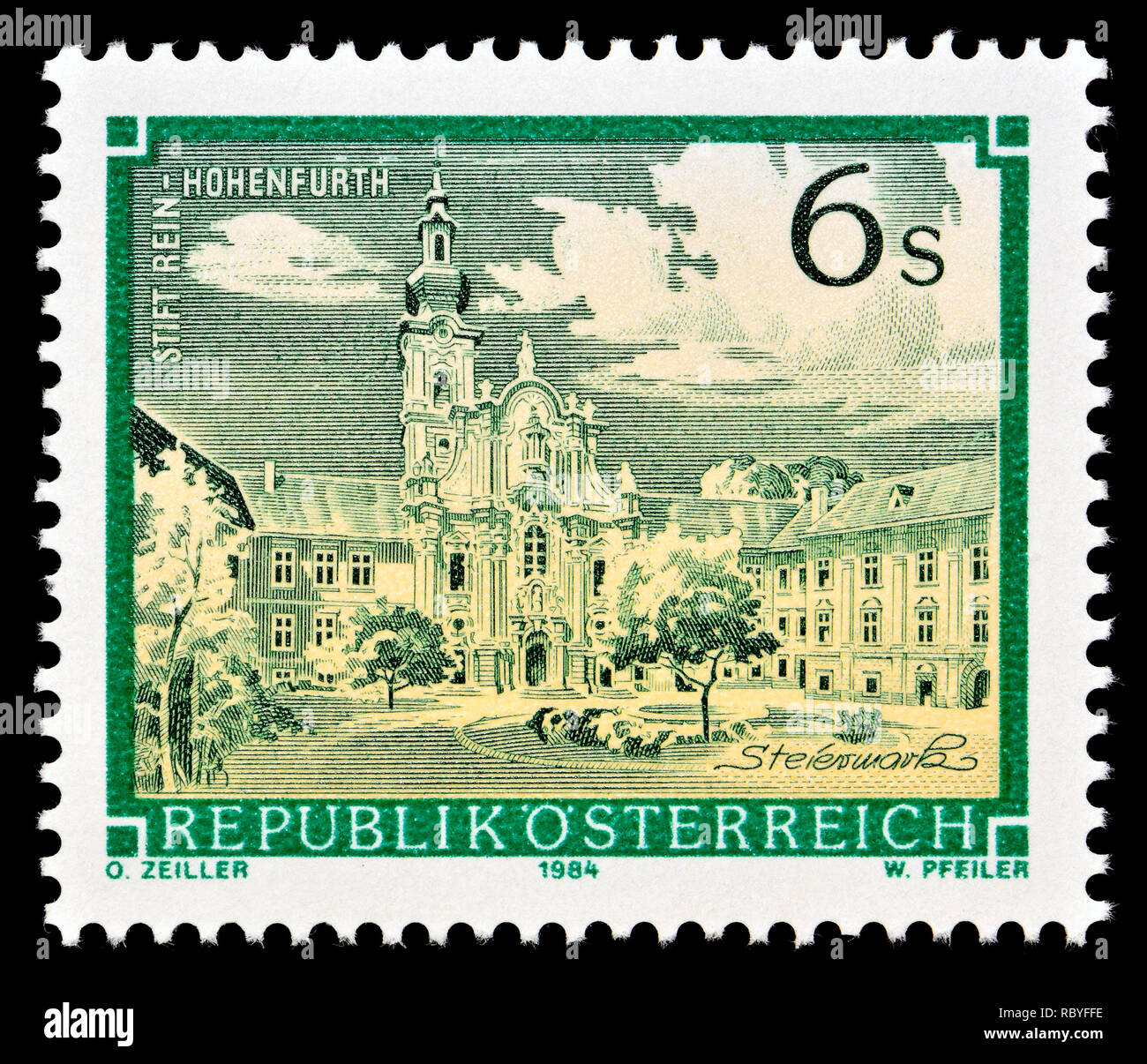 Austrian postage stamp (1984) : Monasteries and Abbeys series: Rein-Hohenfurth Abbey / Stift Rein-Hohenfurth - Stock Image