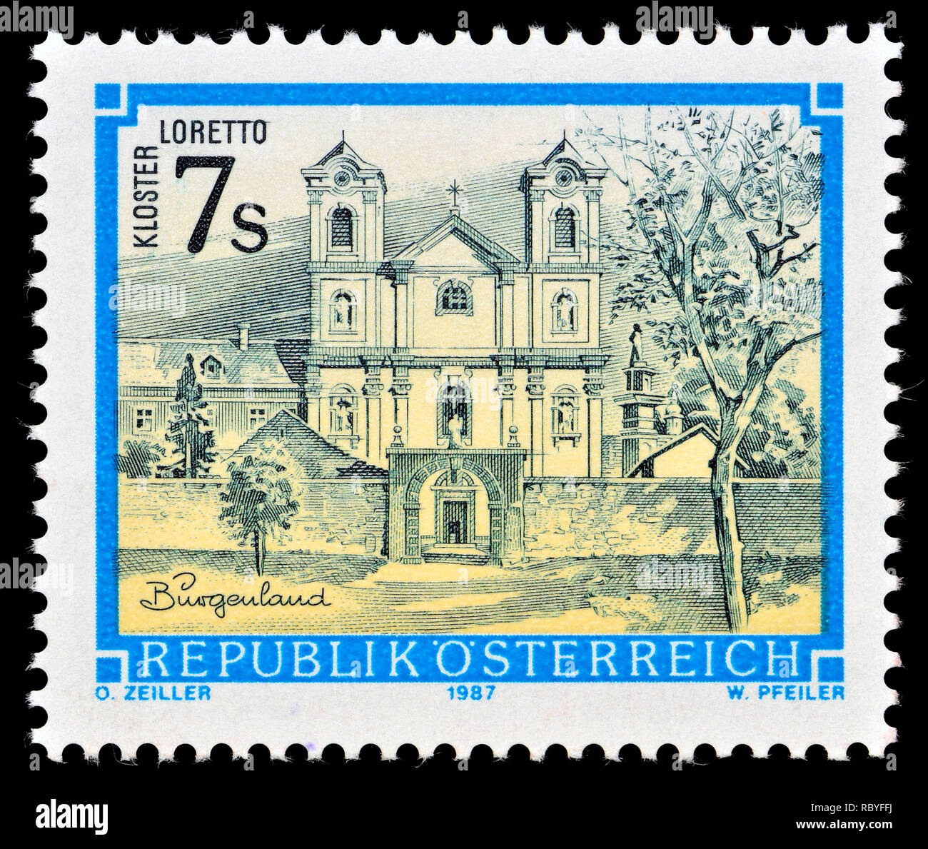 Austrian postage stamp (1987) : Monasteries and Abbeys series: Loretto Monastery / Kloster Loretto - Stock Image
