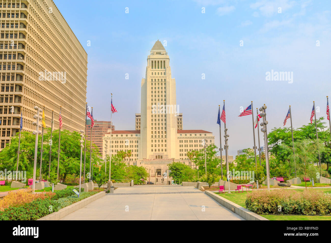 Front view of Los Angeles City Hall and Civic Center buildings in Downtown of LA. The building is home to the government and mayor of city of Los Angeles, California, United States. Urban cityscape. Stock Photo