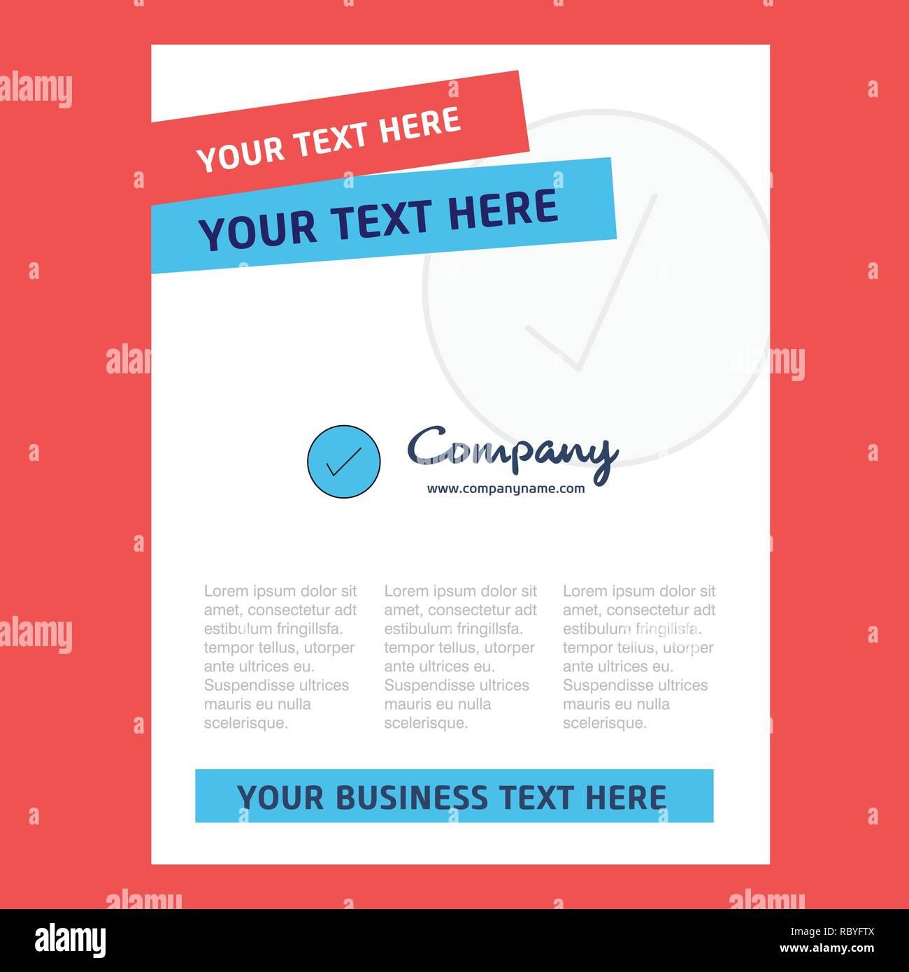 Tick Title Page Design For Company Profile Annual Report