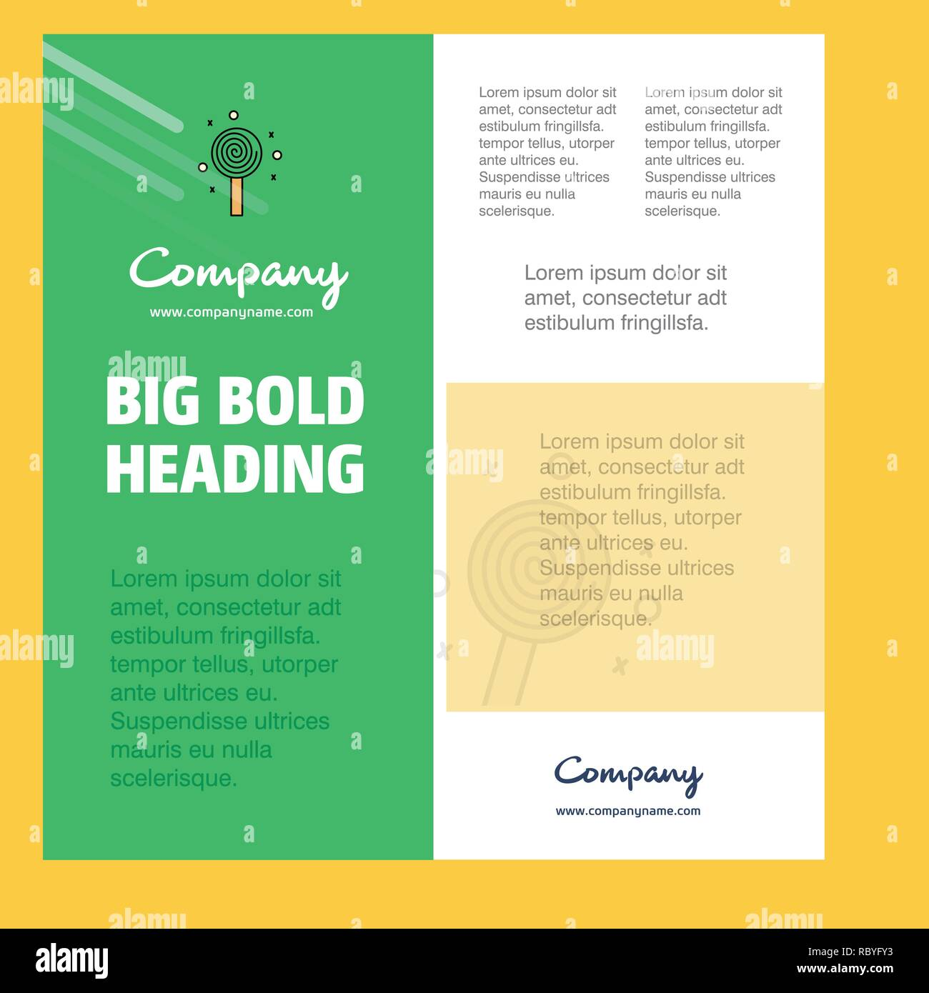 Candy Business Company Poster Template. with place for text and images. vector background - Stock Vector