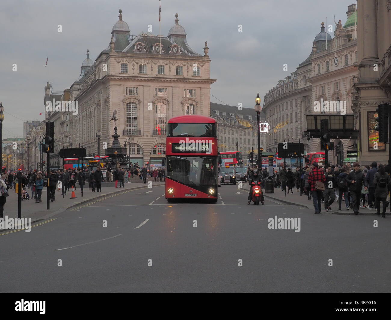 Double Decker - Piccadilly Circus - Stock Image