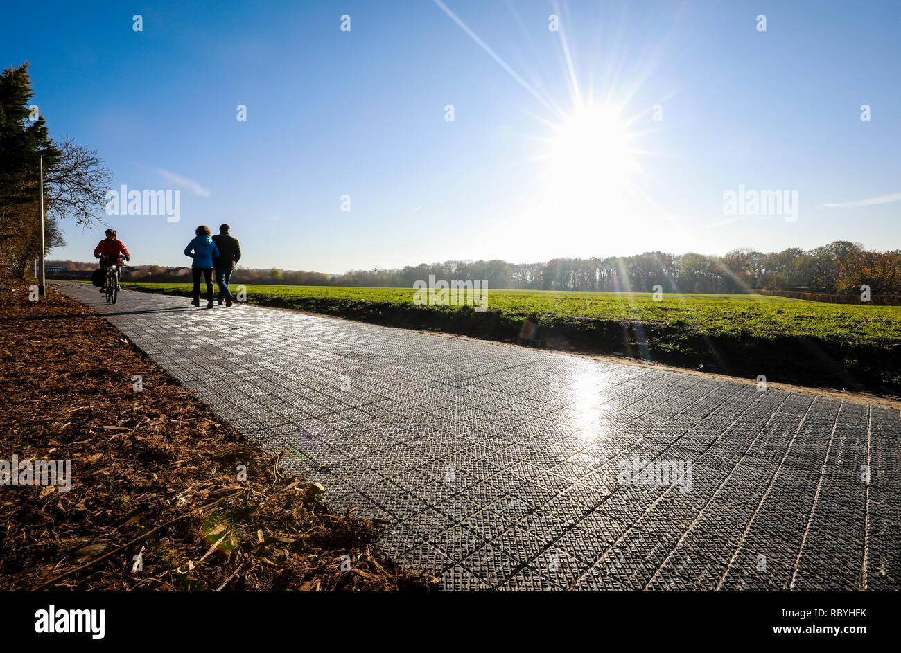 Germany's first solar energy cycle path, the 90 metre long test track from start-up Solmove is expected to deliver around 16,000 kilowatt hours of ele - Stock Image