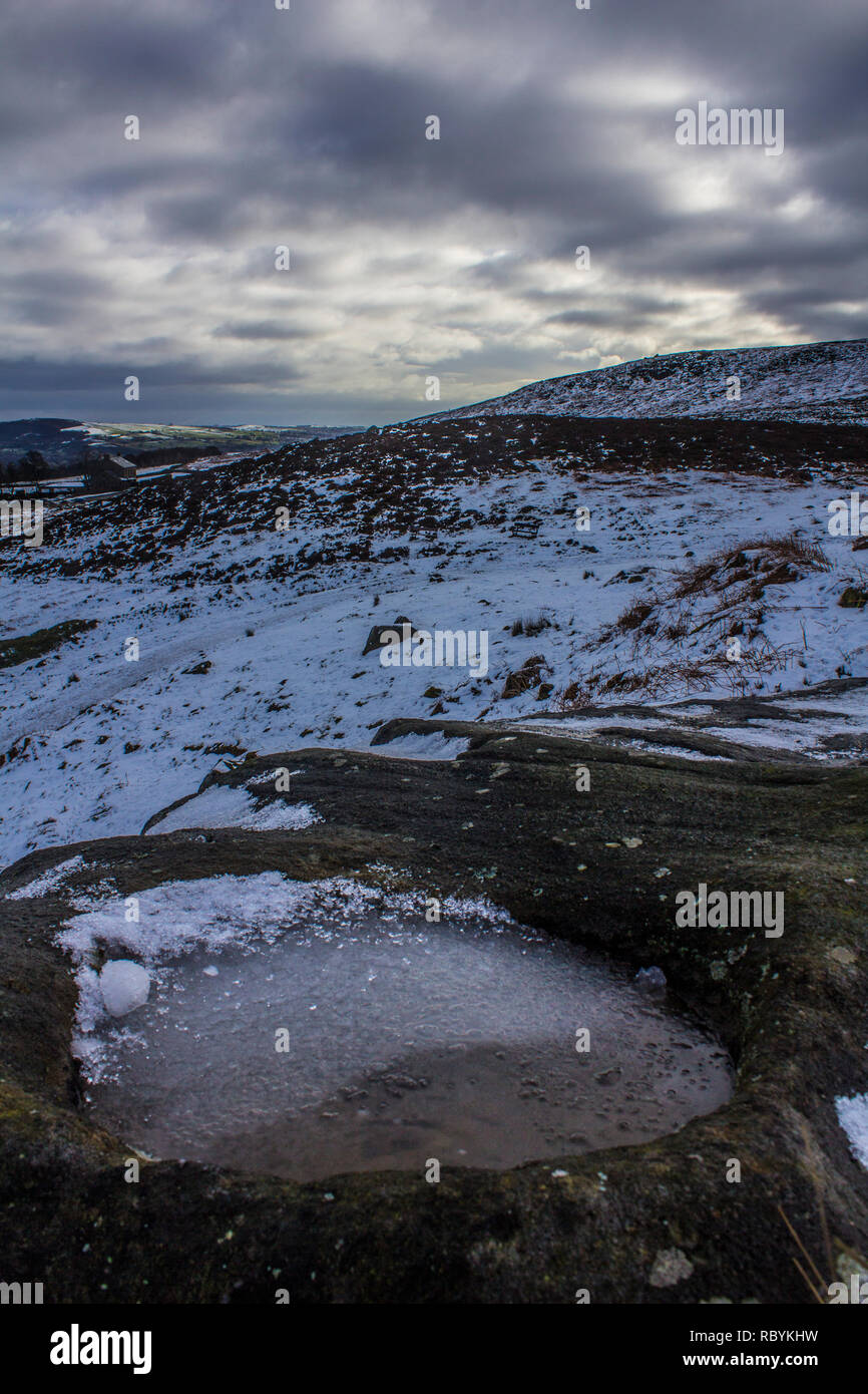 Ilkley Moor, West Yorkshire, covered in snow in the winter - Stock Image