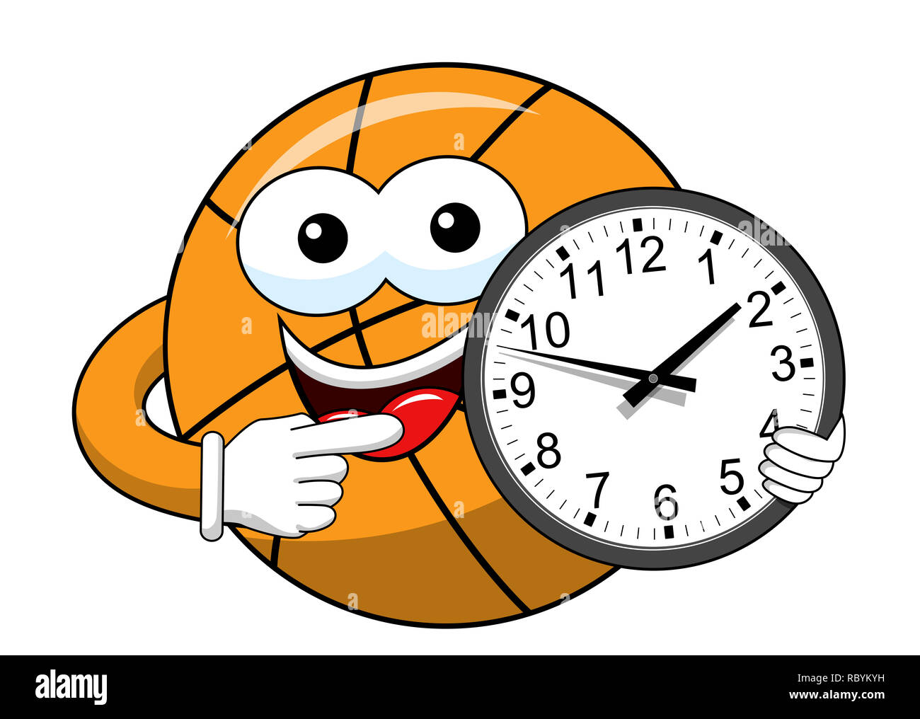 Basketball Ball Cartoon Funny Character Clock Time Isolated On White Stock Photo Alamy