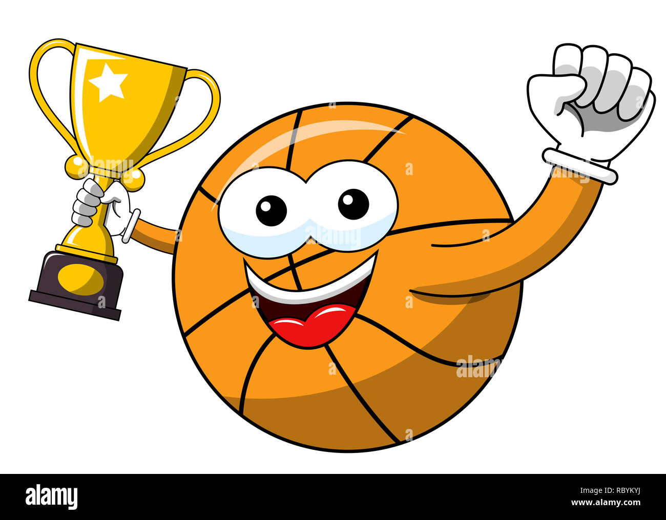 Basketball Ball Cartoon Funny Cup Winner Character Isolated On White Stock Photo Alamy