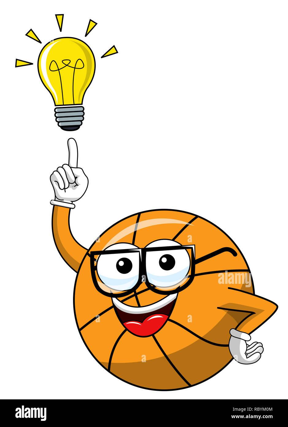 Basketball Ball Cartoon Funny Character Idea Solution Eureka Isolated On White Stock Photo Alamy